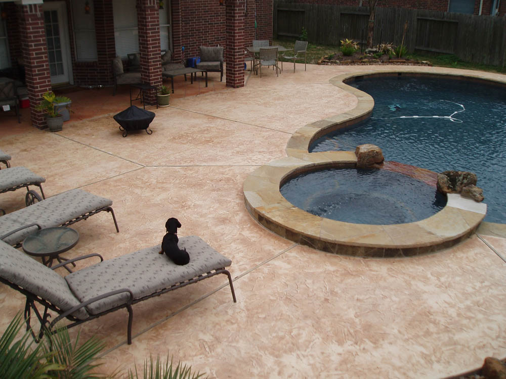 Stamped concrete is the perfect floor for a screen porch for Perfect concrete floors